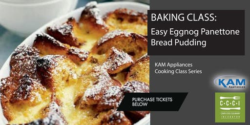 Baking Class:  Easy Eggnog Panettone Bread Pudding