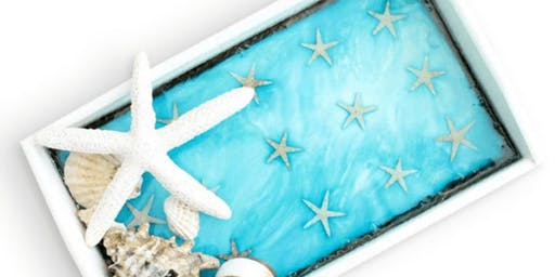 Beachy Resin Serving Tray
