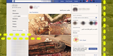 Illicit Antiquities Trade on Social Media tickets