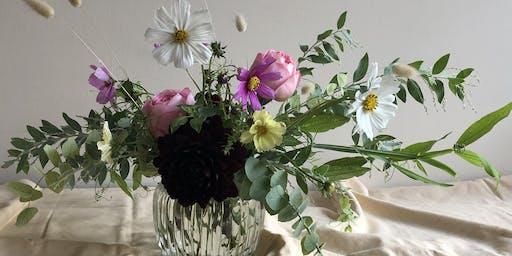 Spring inspired low vase arranging workshop with Florette