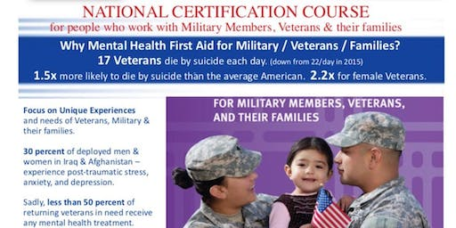 Veterans Mental Health First Aid Adult Certification Course