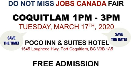 Free: Coquitlam Job Fair - March 17th 2019 tickets