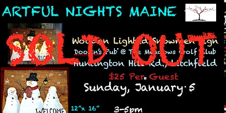 Wooden Lighted Snowmen Sign Doolin's Pub at The Meadows Golf Club tickets
