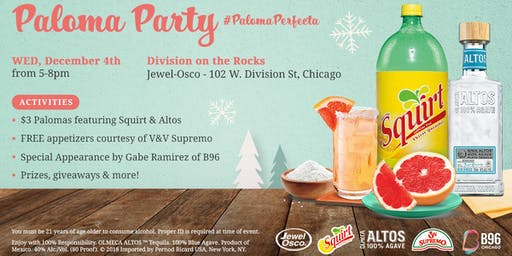 Paloma Holiday Party with Squirt Soda and Altos Tequila