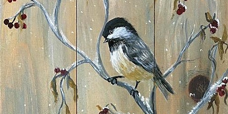 Wood Board -Chickadees and Berries Trio tickets