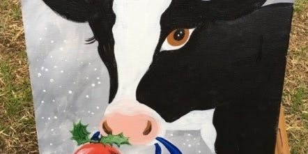 Cow Christmas Painting