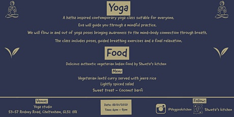 An evening of yoga & vegetarian Indian food tickets