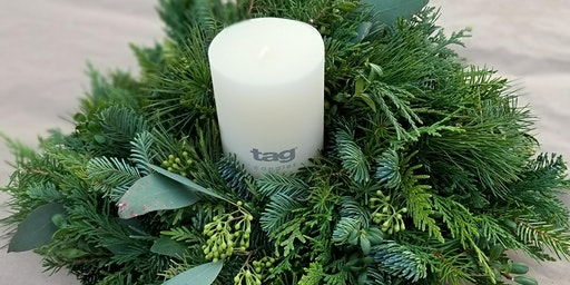 Live Greenery Candle Ring - Thurs, Dec 12th 6:00pm