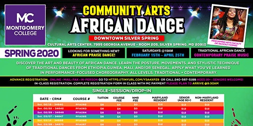 African Dance Class @ Montgomery College - Downtown Silver Spring - 2/29