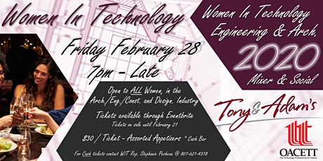 Women In Technology Engineering & Arch., Mixer and Social tickets