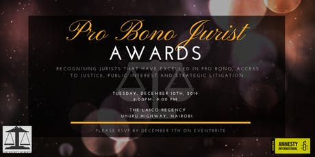 LAUNCH OF 7TH PRO BONO PUBLIC INTEREST JURIST AWARD 2019 tickets