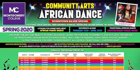 African Dance Class @ Montgomery College - Downtown Silver Spring - 4/4 tickets