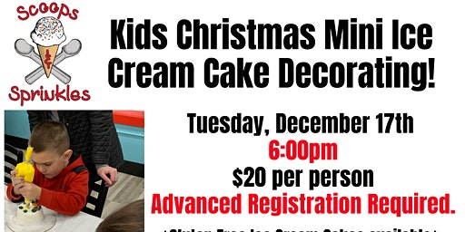 Kids Christmas Mini Cake Decorating Night TUESDAY 12/17
