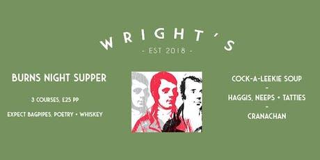 Burns Night Supper Club @ Wright's tickets