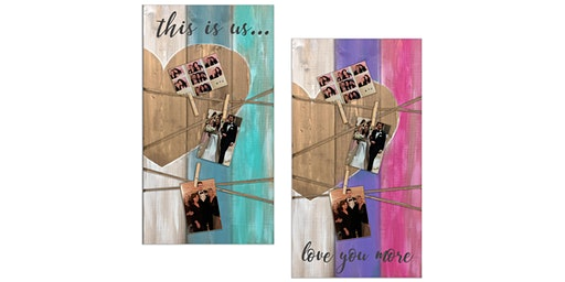 """""""This is us"""" or """"I love us"""" Photo Pallet Painting Sip Wine Art Maker Class"""
