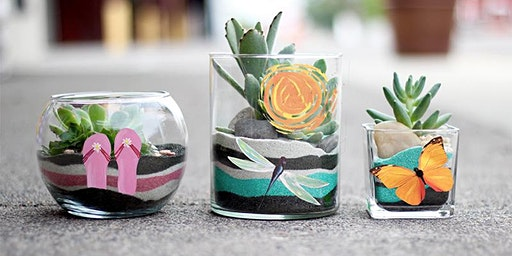 Sand Art Succulent Planter Paint Sip Wine Art Maker Class
