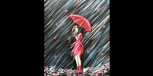Girl in the Rain Canvas Paint Sip Wine Art Maker Class