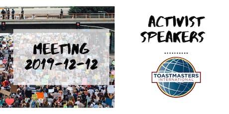 Activist Speakers Toastmasters tickets