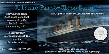 Titanic First Class Dinner tickets