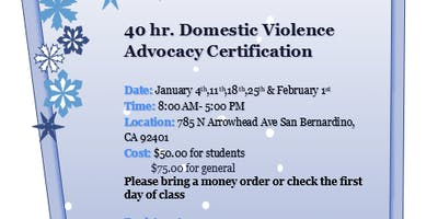 40 hr Domestic Violence Advocacy Certification