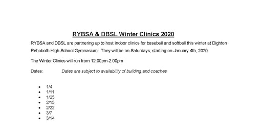 Dighton Rehoboth Winter Clinics