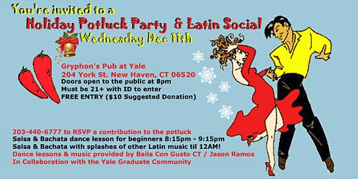 Baila Con Gusto & Yale- Holiday Potluck Party and Latin Social
