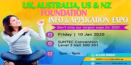 Australia, UK, NZ & US Uni Pathway Expo @Suntec Fri 10 Jan 2020 Hall 300-301 - Our First Expo for 2020 tickets
