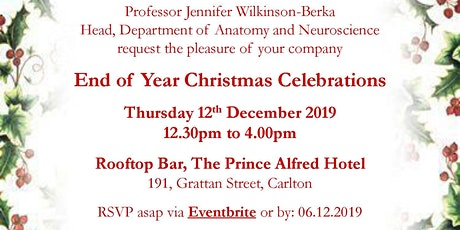 2019 Anatomy and Neuroscience End of Year Christmas Celebrations tickets