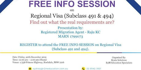 FREE INFO SESSION on Regional Visas (Subclass 491 & 494) tickets