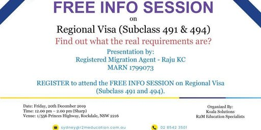 FREE INFO SESSION on Regional Visas (Subclass 491 & 494)