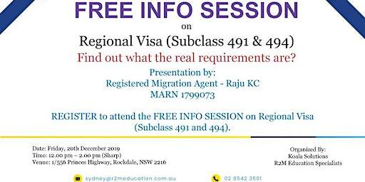 FREE INFO SESSION on Regional Visas (Subclass 491 & 494)