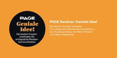 PAGE Seminar »Geniale Idee!« mit Mario Pricken und Dieter Weidhofer