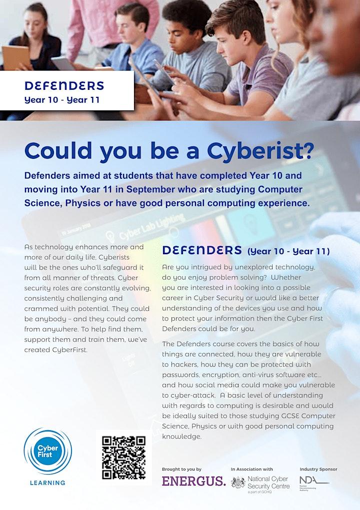 CyberFirst Defenders Year 10 - Year 11 image