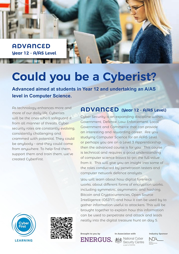 CyberFirst Advanced Year 12 - A/AS Level image