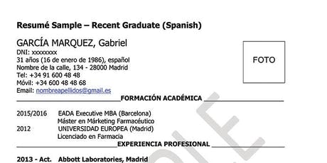 Design your CV! Learn to make your CV in Spanish entradas