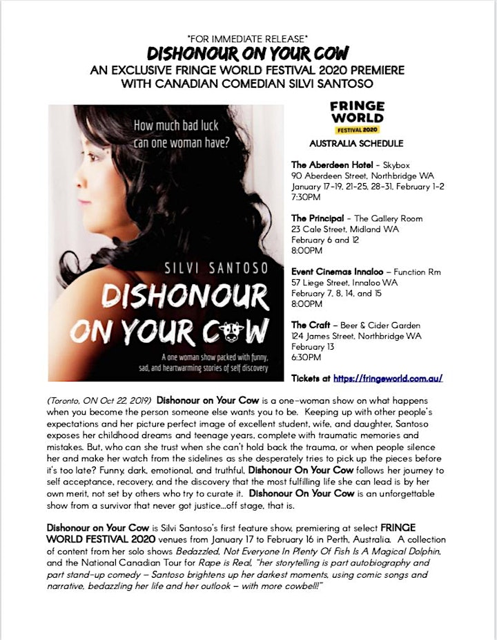Silvi Santoso: Dishonour On Your Cow - Fringe World 2020 Preview in Toronto image