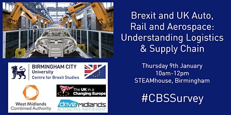 Brexit: UK Auto, Rail & Aerospace: Understanding Logistics & Supply Chain tickets
