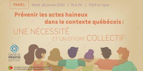 Panel - Prévenir les actes haineux dans le contexte québécois billets