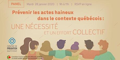 Panel - Prévenir les actes haineux dans le contexte québécois tickets