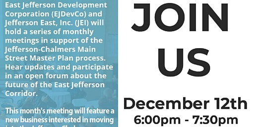 Jefferson-Chalmers Mainstreet Master Plan Community Meeting