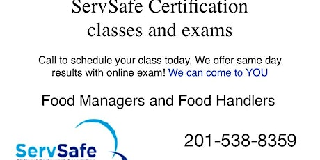 Atlantic City ServSafe NJ Food Managers and Food Handler Class and Exam |Atlantic City tickets