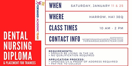 Dental Nursing Diploma/Courses in Harrow - January 2020 tickets