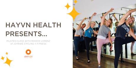 HAYVN HEALTH Workshop: Pilates Class with Rhodie Lorenz from JoyRide tickets