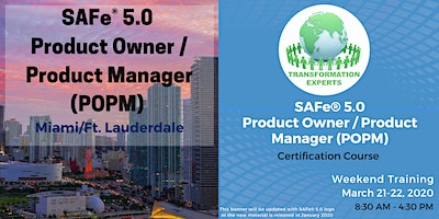 SAFe® 5.0 Product Owner / Product Manager (POPM) Certification | Miami / Ft. Lauderdale
