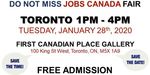 Free: Toronto Job Fair - January 28th, 2020