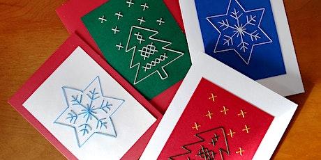 Atelier de cartes de Noël brodées tickets