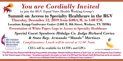 Summit on Access to Specialty Healthcare in the RGV