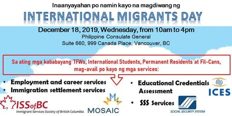 Services at Philippine Consulate General for International Migrants Day tickets