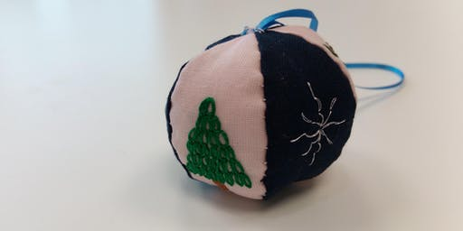 Hand Embroidered Christmas Baubles Workshop / Class