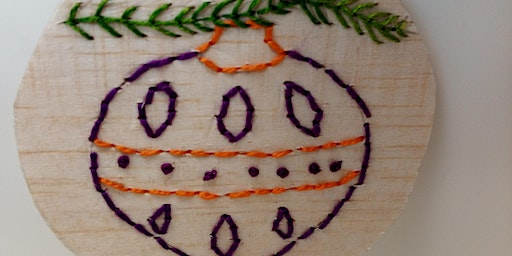 Balsa Wood Christmas Baubles - Hand or Machine Embroidery Workshop